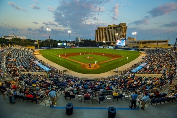 The Biloxi Shuckers take on the Pensacola Blue Wahoos at MGM Park in Biloxi, Miss. on Wednesday, Aug. 12, 2015. (Joshua Dahl/Las Vegas Review-Journal)
