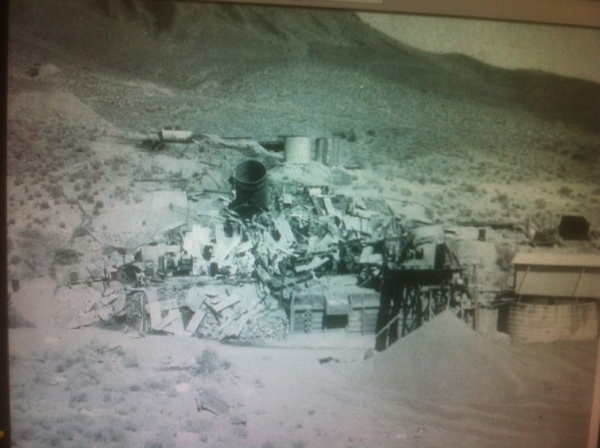 The ore processing mill at Groom Mine is shown after a June 1954 incident the Sheahan family describes as a bombing. A jet's wing fuel tank dropped on the mill. Courtesy, Sheahan family