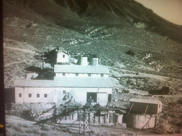 The ore processing mill at Groom Mine is shown before a June 1954 incident the Sheahan family describes as a bombing. A jet's wing fuel tank dropped on the mill. Courtesy, Sheahan family