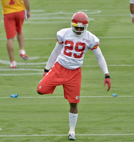 Jul 29, 2015; St. Joseph, MO, USA; Kansas City Chiefs strong safety Eric Berry (29) stretches during the first day of training camp at Missouri Western State University. (Denny Medley/USA Today Sp ...