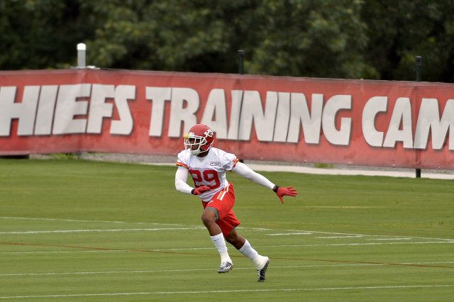 Jul 29, 2015; St. Joseph, MO, USA; Kansas City Chiefs strong safety Eric Berry (29) runs drills during the first day of training camp at Missouri Western State University. (Denny Medley/USA Today  ...