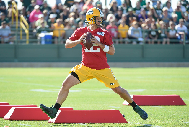 Jul 30, 2015; Green Bay, WI, USA;  Green Bay Packers quarterback Aaron Rodgers practice during training camp at Ray Nitschke Field. (Benny Sieu/USA Today Sports)