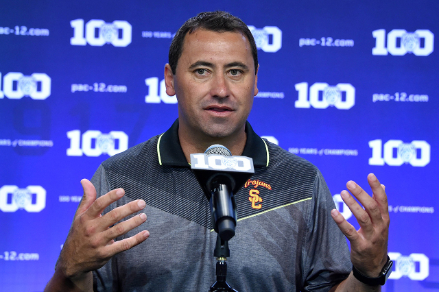 Jul 31, 2015; Burbank, CA, USA; Southern California Trojans coach Steve Sarkisian at Pac-12 Media Day at Warner Bros. Studios. (Kirby Lee/USA Today Sports)