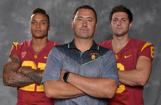 Jul 31, 2015; Burbank, CA, USA; Southern California Trojans linebacker Su'a Cravens (left), coach Steve Sarkisian (center) and quarterback Cody Kessler at Pac-12 Media Day at Warner Bros. St ...