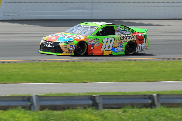 Pole sitter Kyle Busch drives the Joe Gibbs Racing Toyota during the NASCAR Sprint Cup Series Windows 10 400 on Sunday at Pocono Raceway in Long Pond, Pa. Busch's bid for a fourth straight v ...