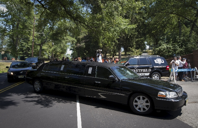 A limousine believed to be transporting family members of Bobbi Kristina Brown arrives at the Fairview Cemetery in Westfield, New Jersey, for Bobbi Kristina's burial service, August 3, 2015. ...