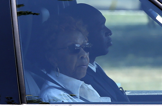 Cissy Houston, the mother of late singer Whitney Houston, rides in a vehicle as she leaves the Fairview Cemetery in Westfield, New Jersey, where her granddaughter Bobbi Kristina's burial ser ...