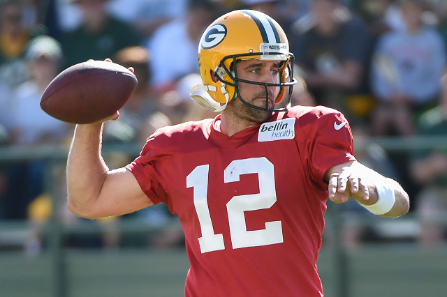 Aug 3, 2015; Green Bay, WI, USA; Green Bay Packers quarterback Aaron Rodgers practice during training camp at Ray Nitschke Field. (Benny Sieu/USA Today Sports)