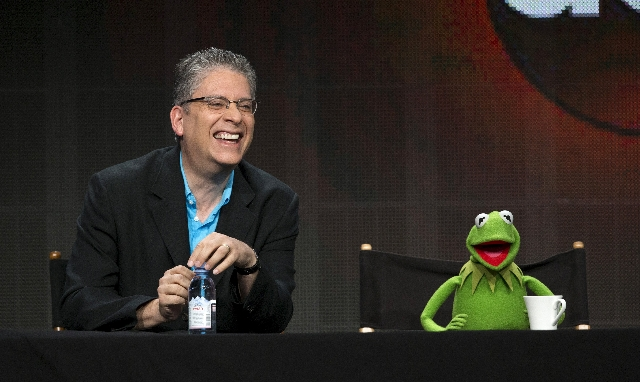 "Writer and executive producer Bill Prady and Muppets character Kermit the Frog attend a panel for the Disney-ABC television series ""The Muppets"" during the Television Critics Association ..."
