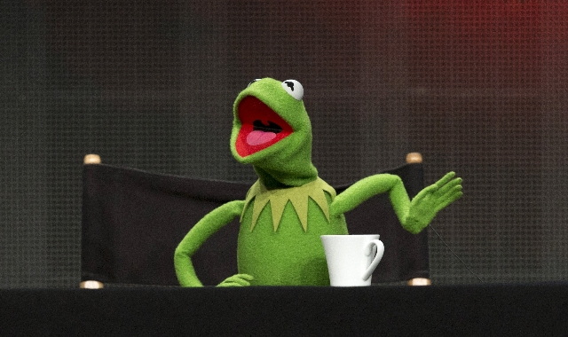 "Muppets character Kermit the Frog speaks at a panel for the Disney-ABC television series ""The Muppets"" during the Television Critics Association Cable Summer Press Tour in Beverly Hills, ..."