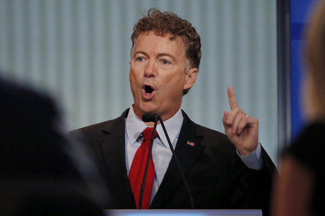Republican 2016 U.S. presidential candidate U.S. Senator Rand Paul answers a question at the first official Republican presidential candidates debate of the 2016 U.S. presidential campaign in Clev ...