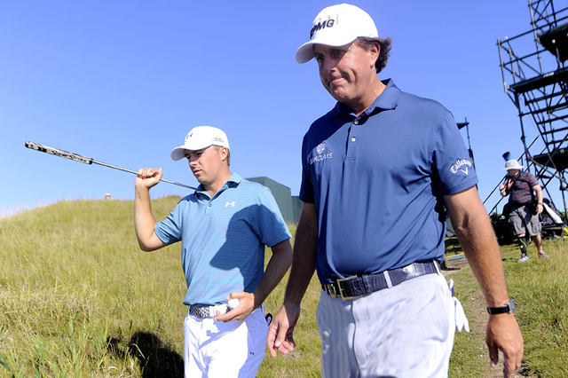 Jordan Spieth (left) and Phil Mickelson walk to the 3rd tee during a practice round for the 2015 PGA Championship golf tournament at Whistling Straits -The Straits Course. Mandatory Credit: Thomas ...