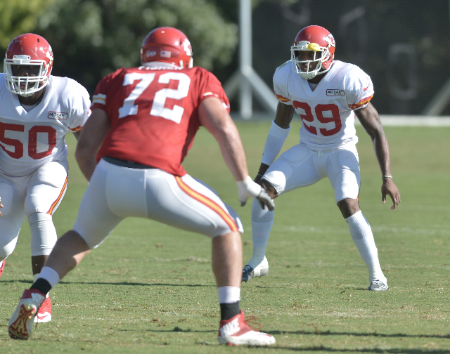 Aug 11, 2015; St. Joseph, MO, USA; Kansas City Chiefs strong safety Eric Berry (29) drops back into coverage as tackle Eric Fisher (72) prepares to block during the training camp at Missouri Weste ...