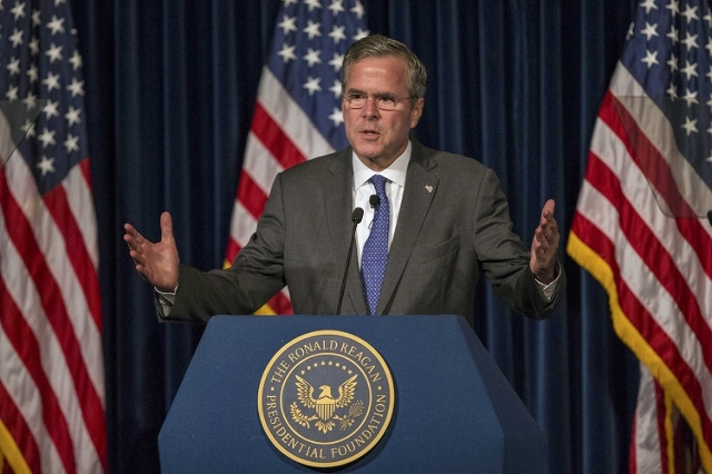 Republican presidential candidate Jeb Bush delivers remarks at a Reagan Forum at Ronald Reagan Presidential Library in Simi Valley, California August 11, 2015.  (Reuters/Mario Anzuoni)