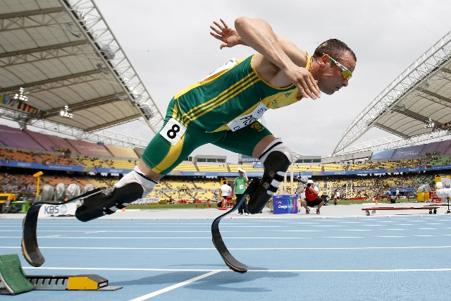 Oscar Pistorius of South Africa comes out of the starting blocks during his men's 400 metres heat at the IAAF World Championships in Daegu in this August 28, 2011 file photo. Pistorius is du ...