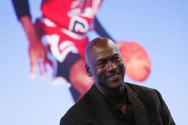Former basketball great Michael Jordan delivers a speech as he attends a party celebrating the 30th anniversary of the Air Jordan shoe line. (Reuters/Gonzalo Fuentas)