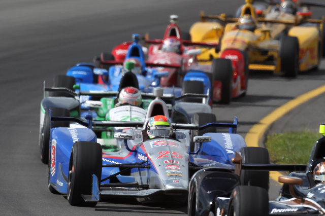 Aug 23, 2015; Long Pond, PA, USA; Verizon IndyCar Series driver Justin Wilson (25) lines up for a restart during the ABC Supply 500 at Pocono Raceway. (Matthew O'Haren/USA Today Sports)