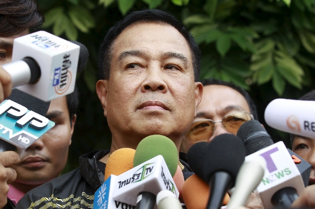Thai national police chief Somyot Pumpanmuang speaks to media at the site where a suspect of the recent Bangkok blast was arrested, in Bangkok, August 29, 2015. REUTERS/Chaiwat Subprasom