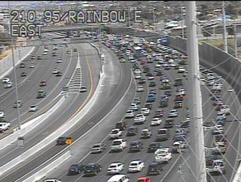 Traffic is backed up past the Rainbow Curve on southbound U.S. Highway 95 after a crash shut down all but one lane between Rancho Drive and Valley View Boulevard. (FAST Cameras/RTC)