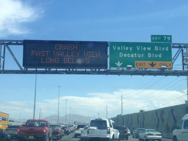 A multivehicle crash has closed several southbound lanes on U.S. Highway 95 between Rancho Road and Valley View Boulevard, Tuesday, Aug. 13, 2015. (Chris Kudialis/Las Vegas Review-Journal)