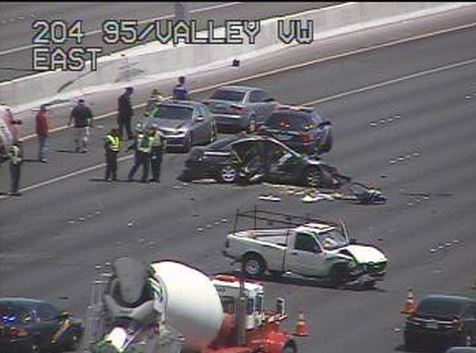 A multivehicle crash has closed several southbound lanes on U.S. Highway 95 between Rancho Road and Valley View Boulevard, Tuesday, Aug. 13, 2015. (FAST Cameras/RTC)