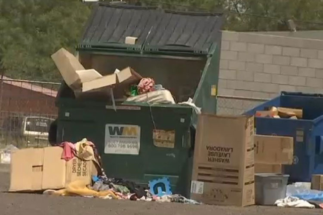 The body of a newborn was found in a dumpster in Glendale, Arizona, on Saturday, Aug. 15, 2015. (Screengrab/KPHO)