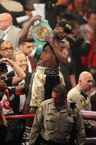 Floyd Mayweather Jr. celebrates his win against Manny Pacquiao by unanimous decision in their welterweight unification boxing match at the MGM Grand Garden Arena in Las Vegas on Saturday, May 2, 2 ...