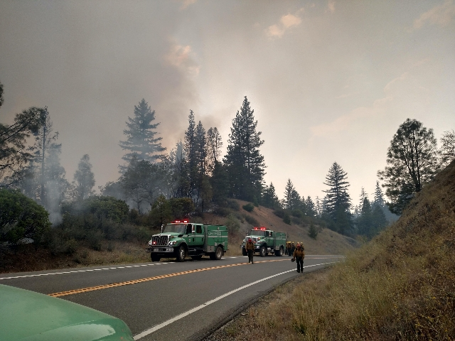 Firefighters work to stop the Fork Fire from advancing on Aug. 2, 2015. As of Aug. 3 the fire had burned more than 23,000 acres. (InciWeb/CNN)