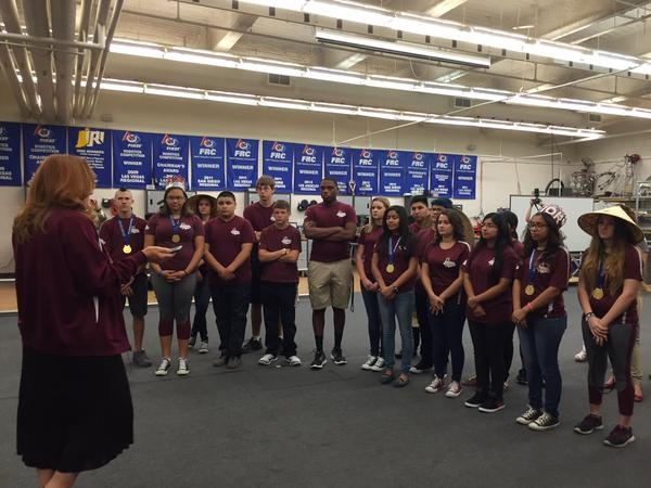 Clark County School District Trustee Patrice Tew addresses the Cimarron-Memorial robotics team about their school's progress in past two years on Monday, Aug. 24, 2015. The team just returne ...