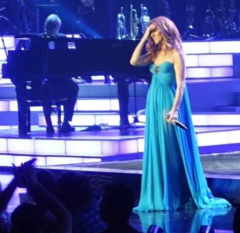 Celine Dion shows the strain from a highly emotional return to Caesars Palace, Thursday, Aug. 27, 2015. (Norm Clarke/Review-Journal)