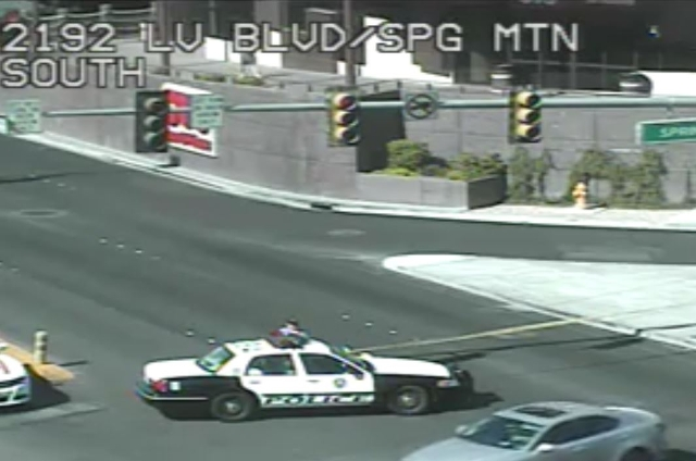 The southbound lanes of Las Vegas Boulevard South at Spring Mountain are closed after a crash involving a bicycle Monday morning, Aug. 3, 2015. (Screengrab/RTC FAST Cameras)