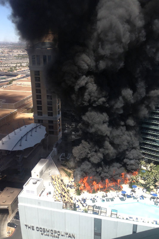 Fire at the Bamboo Pool area of The Cosmopolitan of Las Vegas, Saturday, July 25, 2015. (Courtesy/Leilani Valverde)