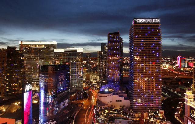 The Cosmopolitan of Las Vegas is seen on the Strip in Las Vegas Tuesday, Nov. 19, 2013. (John Locher/Las Vegas Review-Journal)
