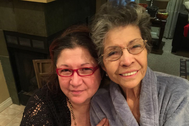 Linda Luebeck (left) and her mother, Mary Luebeck (right) in 2015. (Courtesy)