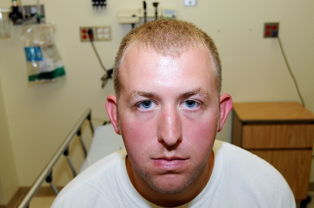 A photograph of Ferguson, Missouri, police officer Darren Wilson as submitted as evidence to the St. Louis County Grand Jury in 2014. (St Louis County Prosecutor's Office/CNN)
