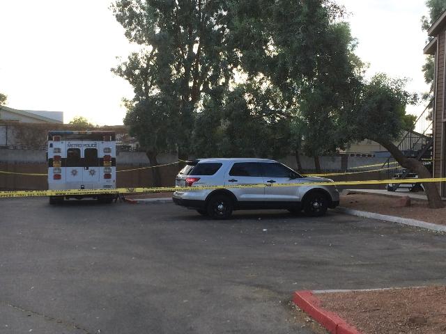 Las Vegas police are investigating a double homicide at at 3070 S. Nellis Blvd. on Tuesday, Aug. 11, 2015. (Bizuayehu Tesfaye/Las Vegas Review-Journal) Follow Bizu Tesfaye on Twitter @bizutesfaye