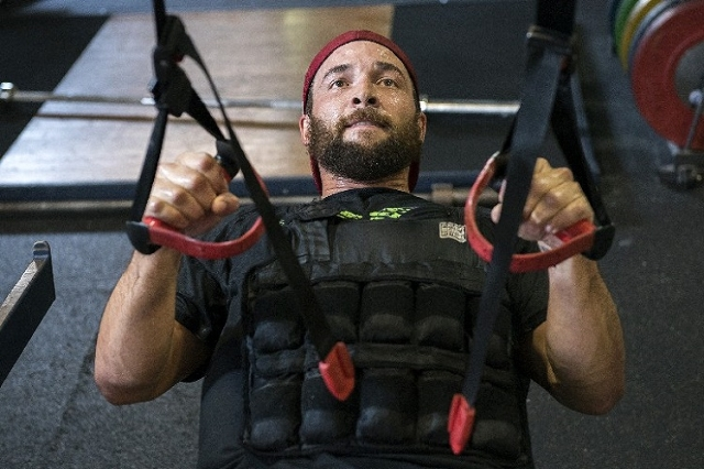 Calgary Flames defenseman and Las Vegas resident Deryk Engelland works out at the Philippi Sports Institute in Las Vegas on Wednesday, Aug. 26, 2015. (Martin S. Fuentes/Las Vegas Review-Journal)