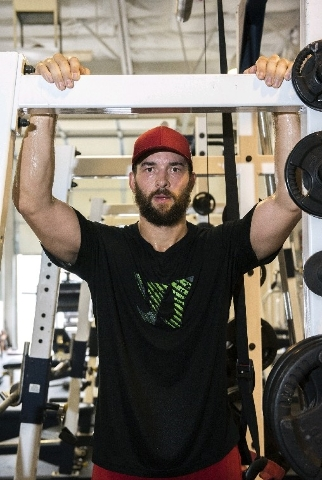 Calgary Flames defenseman and Las Vegas resident Deryk Engelland poses after his workout at the Philippi Sports Institute in Las Vegas on Wednesday, Aug. 26, 2015. (Martin S. Fuentes/Las Vegas Rev ...