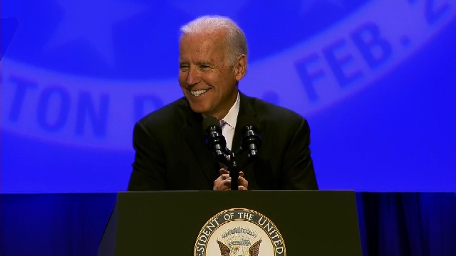 Vice President Joe Biden speaks at a conference Wednesday February 5, 2014 in Washington for the United Automobile, Aerospace and Agricultural Implement Workers of America.