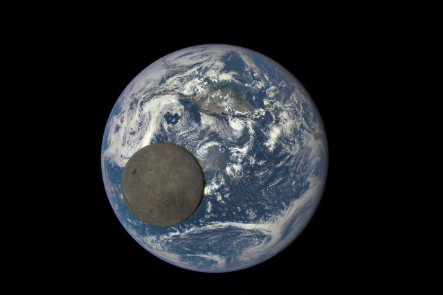 This image shows the far side of the moon, illuminated by the sun, as it crosses between the DSCOVR spacecraft's Earth Polychromatic Imaging Camera camera and telescope, and the Earth -- 1 m ...