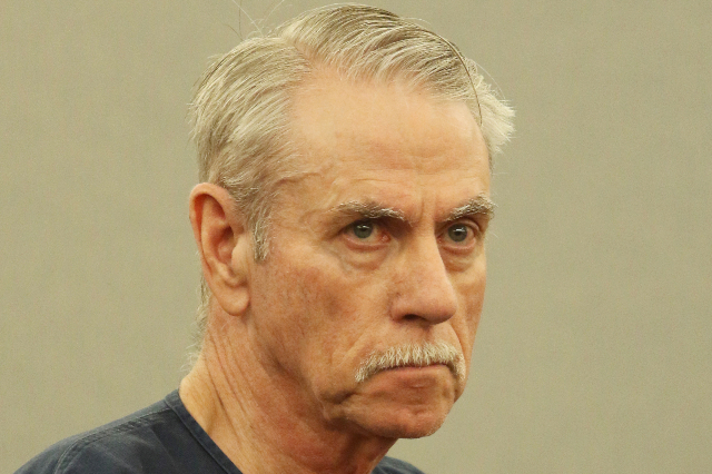 Peter Bennett appears for sentencing in front of Judge Jennifer Togliatti at Regional Justice Center Thursday, Aug. 13, 2015, in Las Vegas. Bennett, a Boulder City rodeo trainer, is convicted of s ...