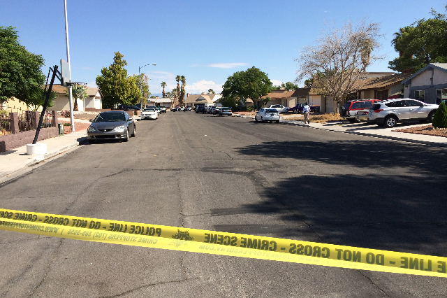 Las Vegas police are investigating an officer-involved shooting in the southwest valley in the 6900 block of Berkshire Place, near the intersection of Rainbow Boulevard and Tropicana on Friday, Au ...