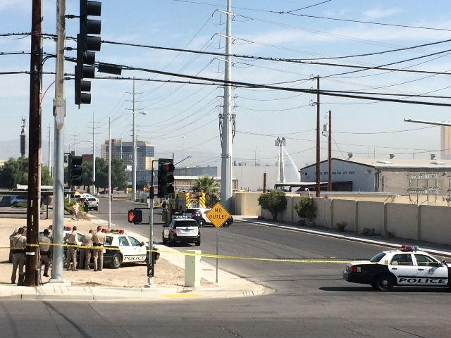 One person was reported injured during a propane tank explosion in the 4200 block of Polaris Avenue on Tuesday morning, Aug. 18, 2015. (Bizuayehu Tesfaye/Las Vegas Review-Journal) Follow Bizu Tesf ...