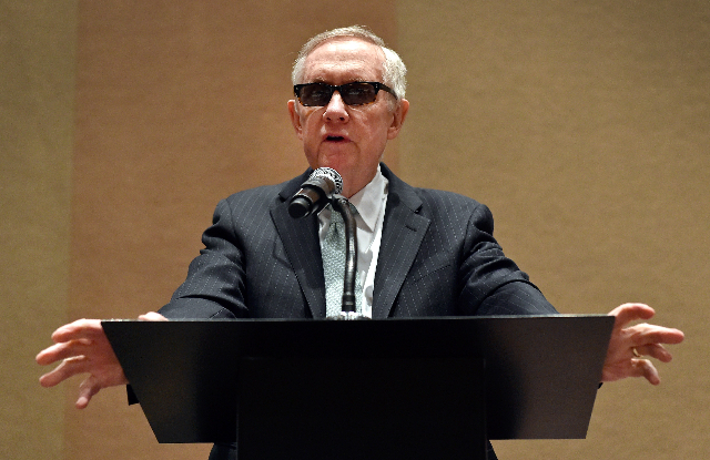 U.S. Sen. Harry Reid, D-Nev., speaks during a during a Las Vegas Global Economic Alliance luncheon at the MGM Grand hotel-casino on Friday, April 10, 2015, in Las Vegas.  (David Becker/Las Vegas R ...