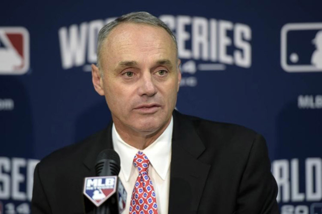 Rob Manfred speaks at a press conference before game two of the 2014 World Series between the Kansas City Royals and the San Francisco Giants at Kauffman Stadium. (Christopher Hanewinckel-USA TODA ...