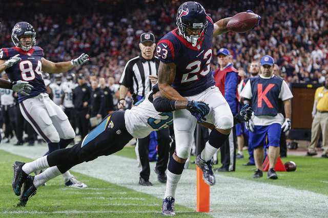 Dec 28, 2014; Houston, TX, USA; Houston Texans running back Arian Foster (23) scores a touchdown during the first quarter against the Jacksonville Jaguars at NRG Stadium. (Troy Taormina/USA Today  ...