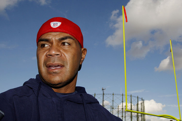 New England Patriots Junior Seau speaks to reporters before training at the Oval Cricket Ground ahead of their NFL game against Tampa Bay Buccaneers in London October October 23, 2009. The Patriot ...