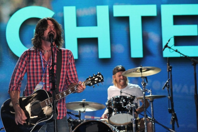 Rock band 'Foo Fighters' perform a sound check prior to their live performance later that evening at the Democratic National Convention on Thursday, September 6, 2012 in Charlotte, Nor ...