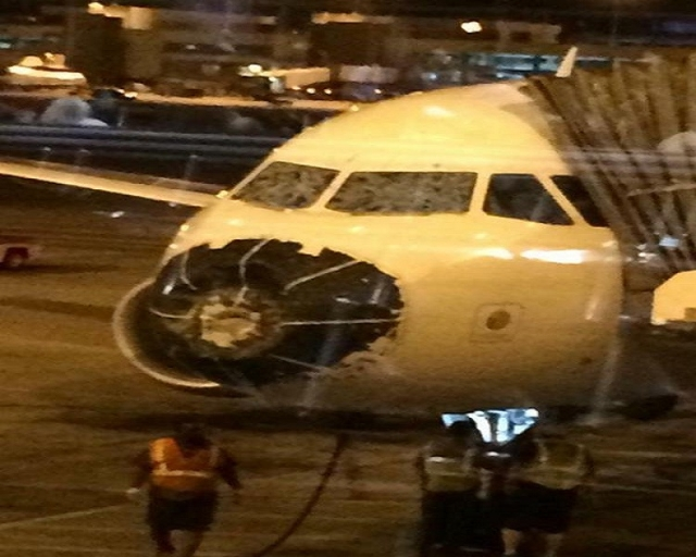 Jack Thompson, a passenger on Delta's 1889 flight from Salt Lake City, Utah  to Denver, Co. snapped a few pictures to his twitter account after the plane landed and suffered damage while rid ...