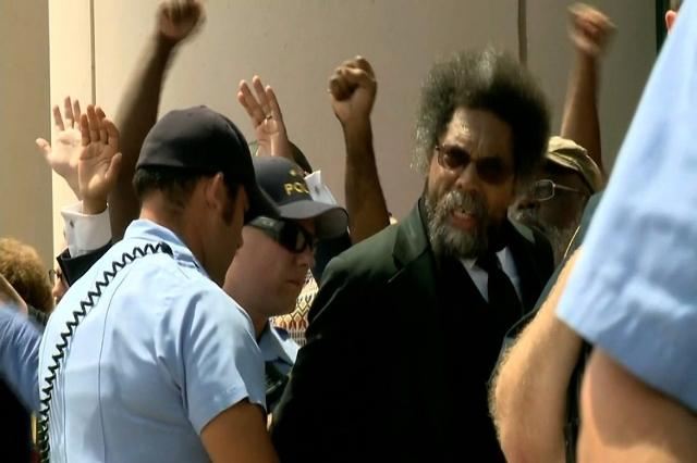 Peaceful protests outside Eagleton Courthouse leads to arrests including activist Cornel West. (KTVI/CNN)